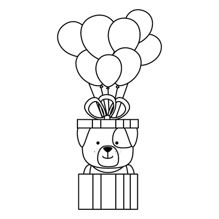 cute dog in gift with ballooons helium character vector illustration design