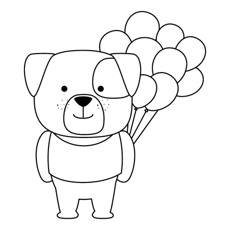cute dog with balloons helium character vector illustration design