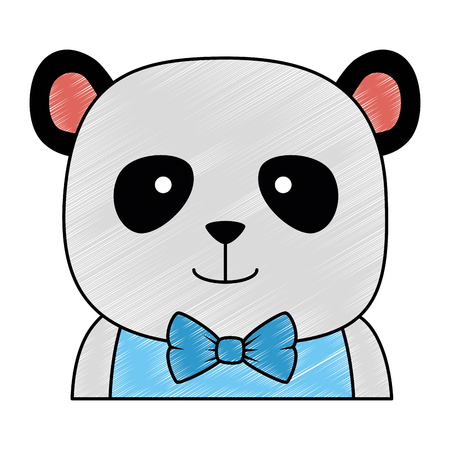 cute bear panda character vector illustration design
