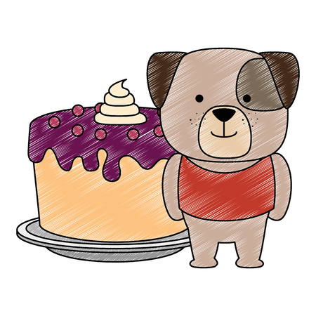 cute dog with sweet cake character vector illustration design Foto de archivo - 103397096