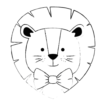cute lion head character icon vector illustration design