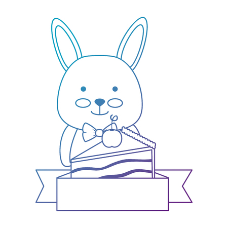 cute rabbit with sweet cake portion character icon vector illustration design