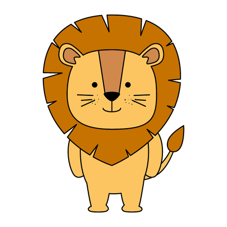 cute lion character icon vector illustration design