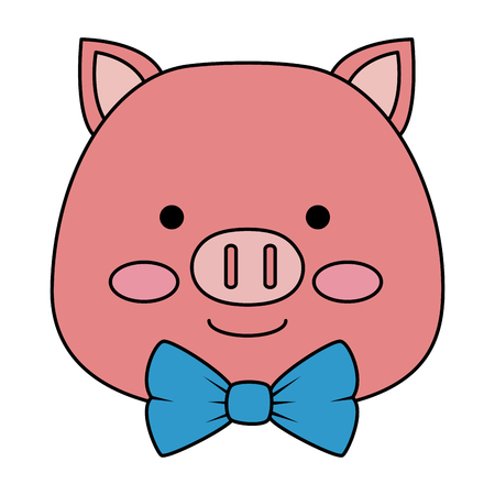 cute pig head character icon vector illustration design