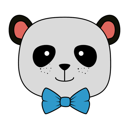 cute bear panda head character vector illustration design