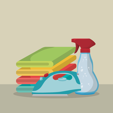 iron appliance with laundry service icons vector illustration design