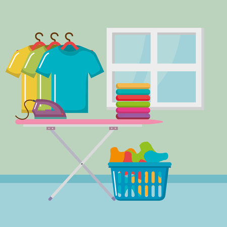 ironing board with laundry service icons vector illustration design Illustration