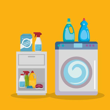 wash machine with laundry service icons vector illustration design Foto de archivo - 103485150