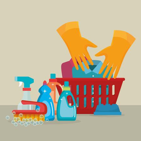 laundry service set products vector illustration design Foto de archivo - 103485155