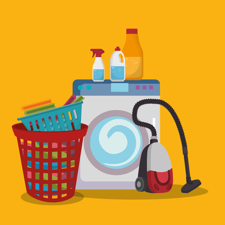 wash machine with laundry service icons vector illustration design Vectores