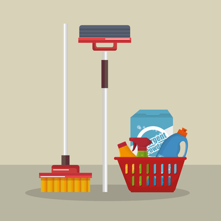 laundry service set products vector illustration design