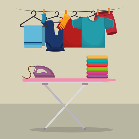 ironing board with laundry service icons vector illustration design Çizim