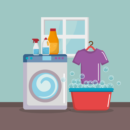 wash machine with laundry service icons vector illustration design Illustration
