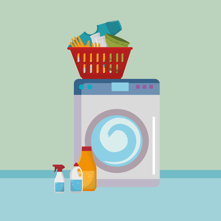 wash machine with laundry service icons vector illustration design 向量圖像