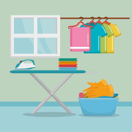 ironing board with laundry service icons vector illustration design Ilustracja