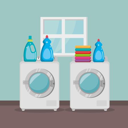 wash machine with laundry service icons vector illustration design Ilustracja