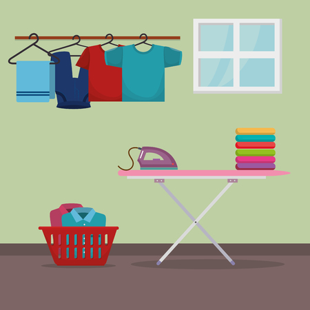 ironing board with laundry service icons vector illustration design Stock Illustratie