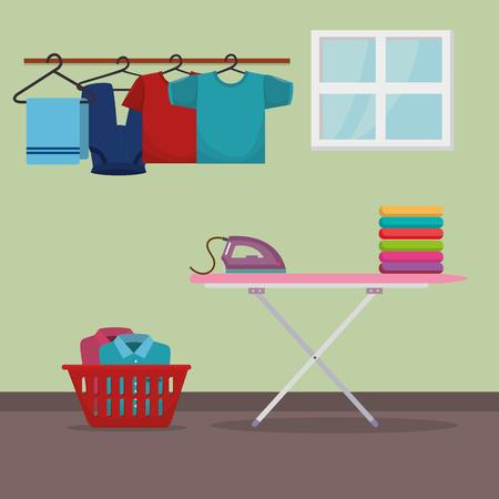 Tabla de planchar con servicio de lavandería, diseño de ilustraciones vectoriales iconos