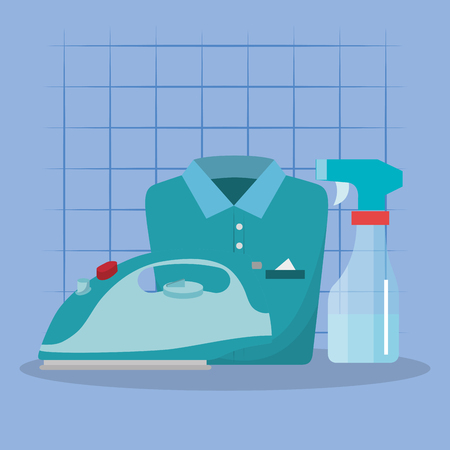 iron appliance with laundry service icons vector illustration design Foto de archivo - 103472810