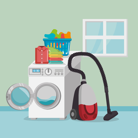wash machine with laundry service icons vector illustration design Illustration