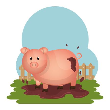 cochons dans la conception d & # 39; illustration vectorielle scène de ferme Vecteurs