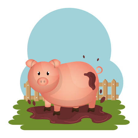pigs in the farm scene vector illustration design Standard-Bild - 103485969