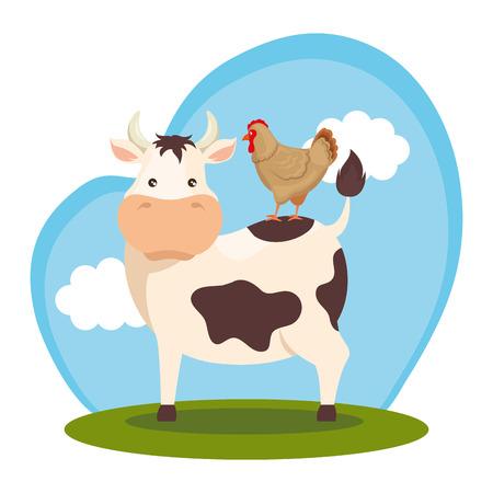 animals in the farm scene vector illustration design Ilustrace