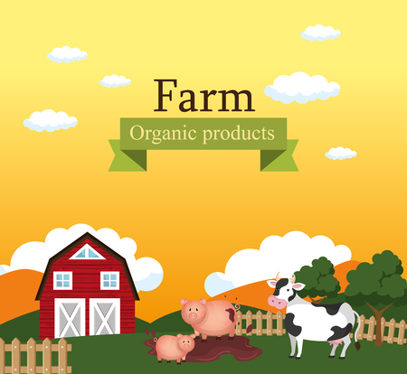 farm scene organic products label vector illustration design Stok Fotoğraf - 103472825