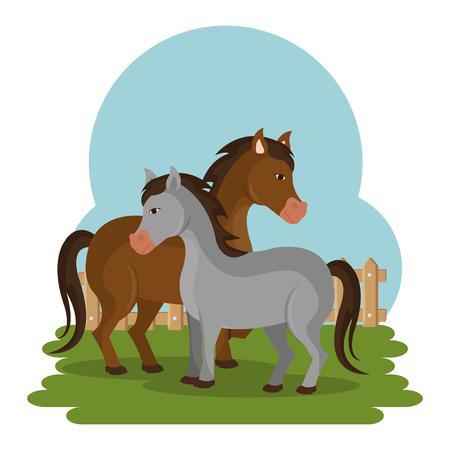 horses in the farm scene vector illustration design Stock Vector - 103472822