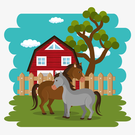 horses in the farm scene vector illustration design Archivio Fotografico - 103472841