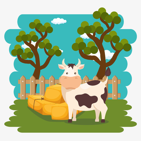cows in the farm scene vector illustration design Stock Vector - 103472844