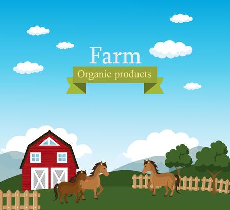 farm scene organic products label vector illustration design