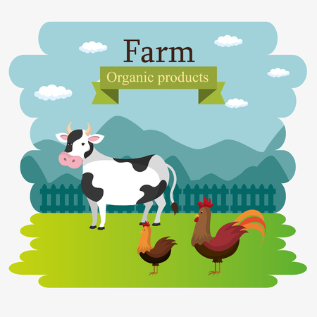 farm scene organic products label vector illustration design Reklamní fotografie - 103472851