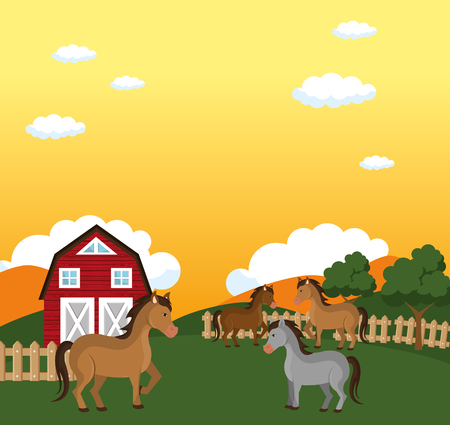 horses in the farm scene vector illustration design Stock Vector - 103476940