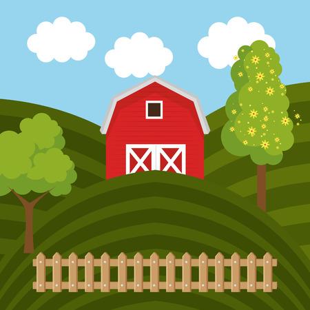 farmhouse in the farm scene vector illustration design Stock Vector - 103472850