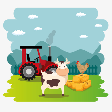 cows in the farm scene vector illustration design Ilustração