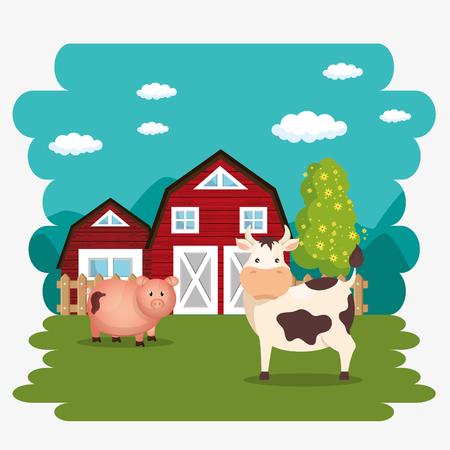 pigs in the farm scene vector illustration design Stock Vector - 103472859