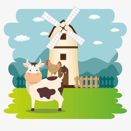 cows in the farm scene vector illustration design Stock Vector - 103472881