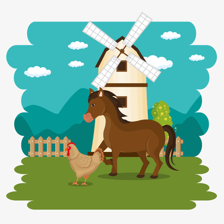 animals in the farm scene vector illustration design Stock Vector - 103476942