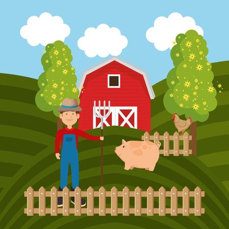 pigs in the farm scene vector illustration design Stock Vector - 103476943