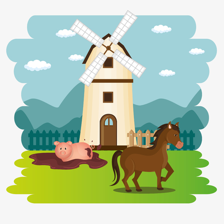 animals in the farm scene vector illustration design Stock Illustratie