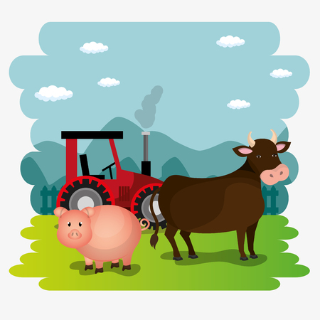 pigs in the farm scene vector illustration design Stock Vector - 103472885