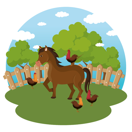 animals in the farm scene vector illustration design Illustration