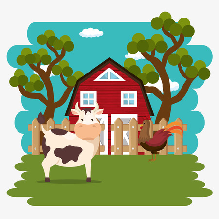 animals in the farm scene vector illustration design Ilustração