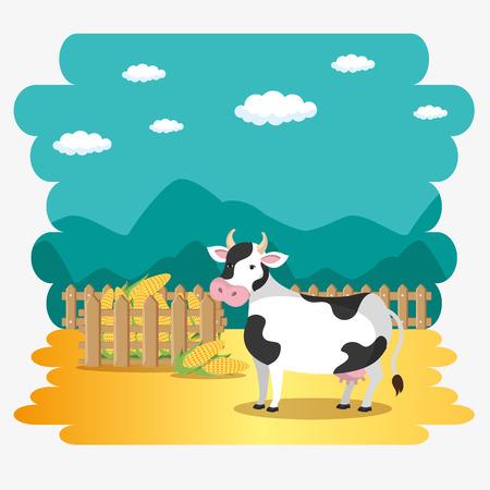 cows in the farm scene vector illustration design Illustration