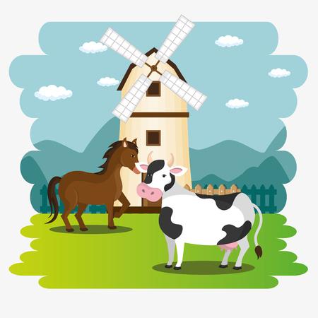 animals in the farm scene vector illustration design