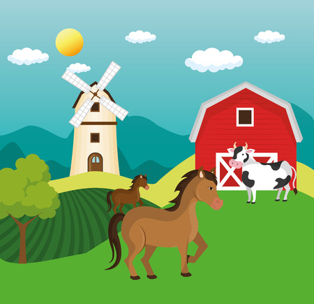 animals in the farm scene vector illustration design Stock Vector - 103472892