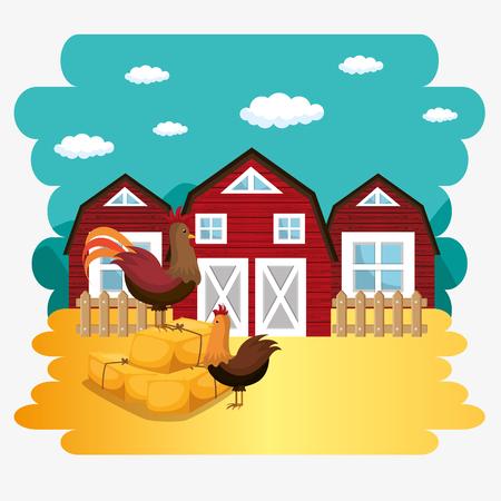 roosters in the farm scene vector illustration design Illustration