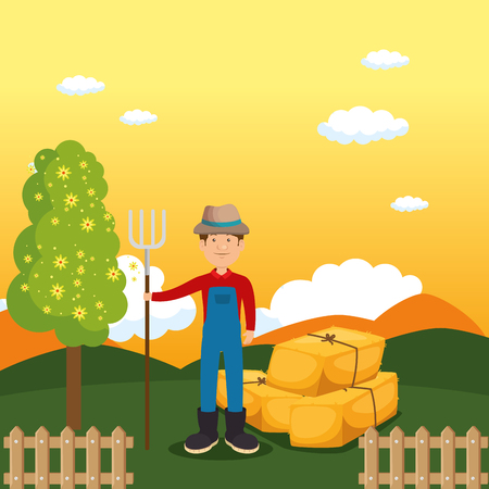 farmer in the farm scene vector illustration design Illustration
