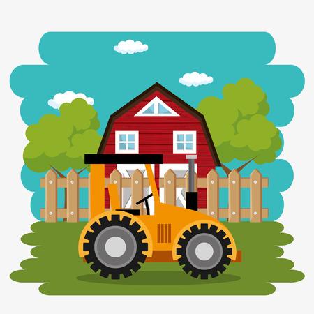 tractor in the farm scene vector illustration design Stock Vector - 103472895